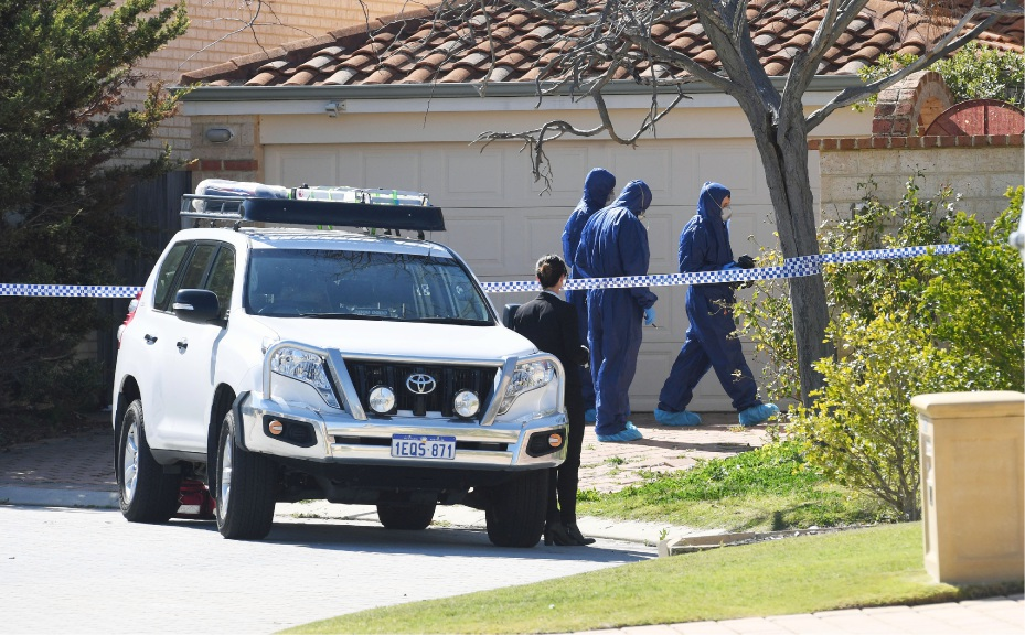 Police outside Ms Chen's Mosman Park home. Photo: Jon Bassett