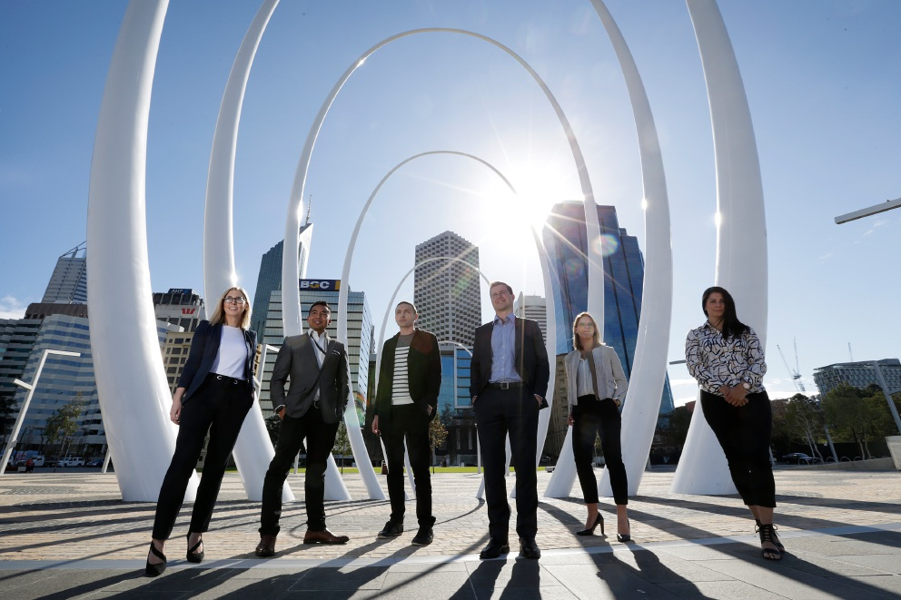 April Pine (Stirling), Tristan Kolay (Bassendean), Dragan Koncar (Dianella), James McLeod (Jolimont), Michelle Naude (Leederville) and Alexia Sita (Karrinyup). Rotary members who will establish the Rotary Club of Elizabeth Quay. Picture: Andrew Ritchie