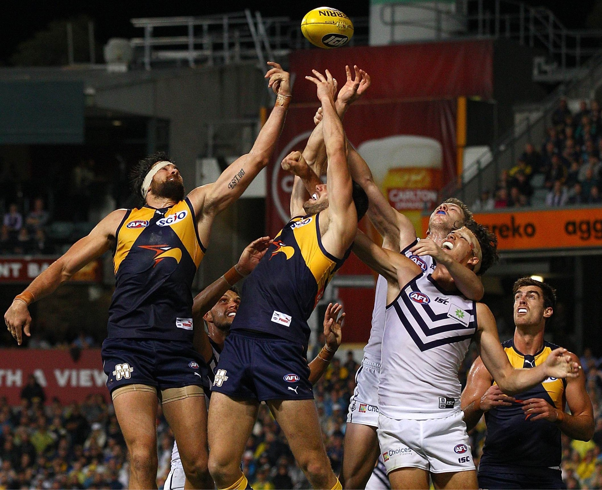 Just out of reach for Josh Kennedy as a pack stretches for the ball in the last Western Derby. Picture: Getty Images