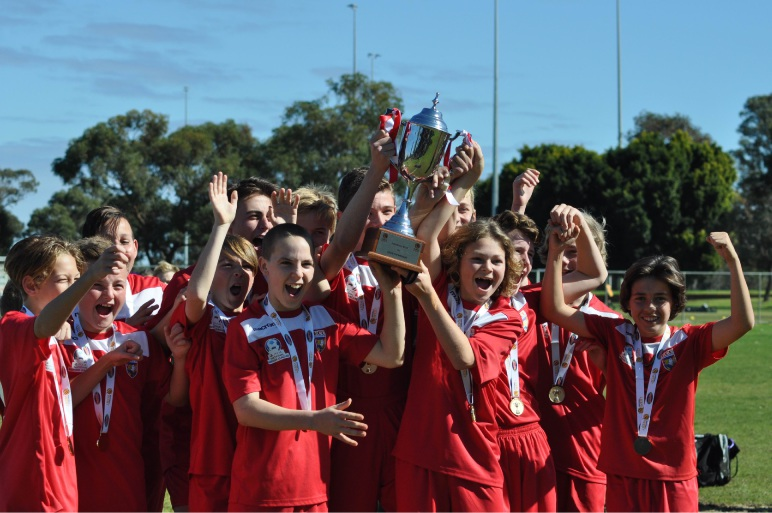 ECU Joondalup's under-13s celebrate winning the State League Cup Final.
