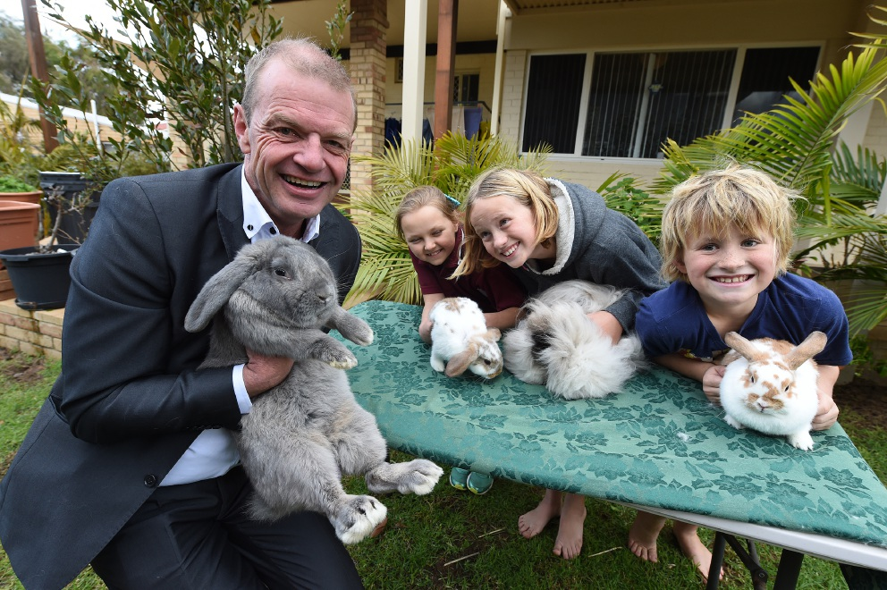 Cr Dave Schumacher and some of the bunnies that will be on display