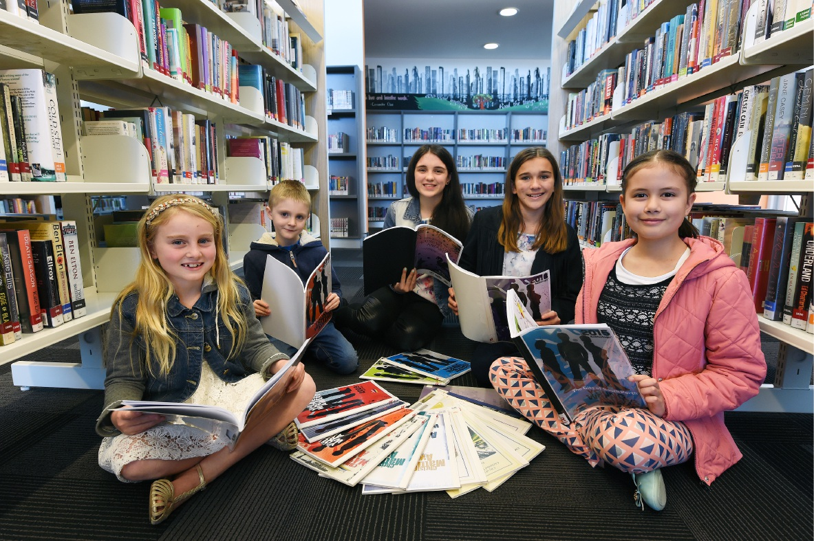 Putting pen to paper: South Perth Young Writers Award finalists Madeleine Pink, Evan Ratcliff, Lily Graves, Amelia Jones and Hannah Symons. Picture: Jon Hewson