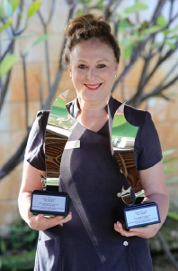 Keishi Day Spa owner and manager Everlyn Zaccagnini with the international awards