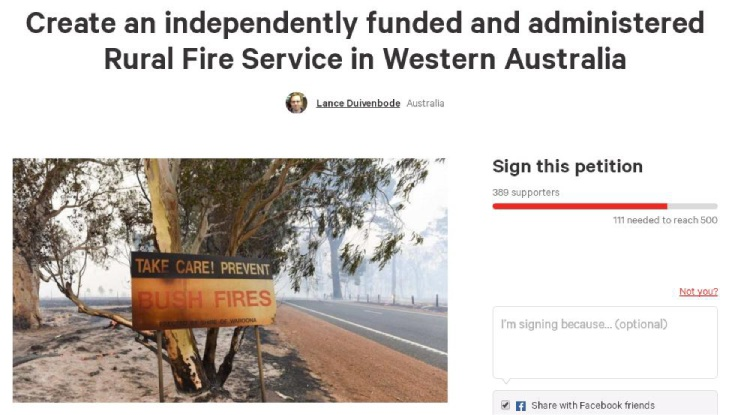 Volunteer firefighter calling on Premier to establish Rural Fire Service in wake of South-West fire report