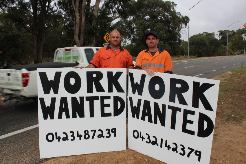 South Yunderup man Mark Tipper (37) and North Yunderup man Anton Cook (32) are looking for work. Picture: Vanessa Schmitt.