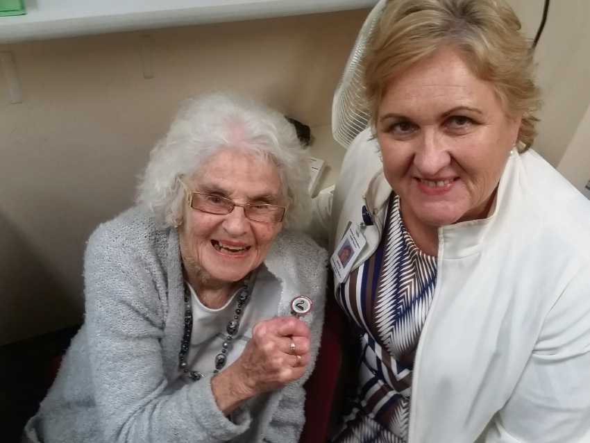Margaret Lay with Women and Infants Research Foundation volunteer co-ordinator Jenny Reid.