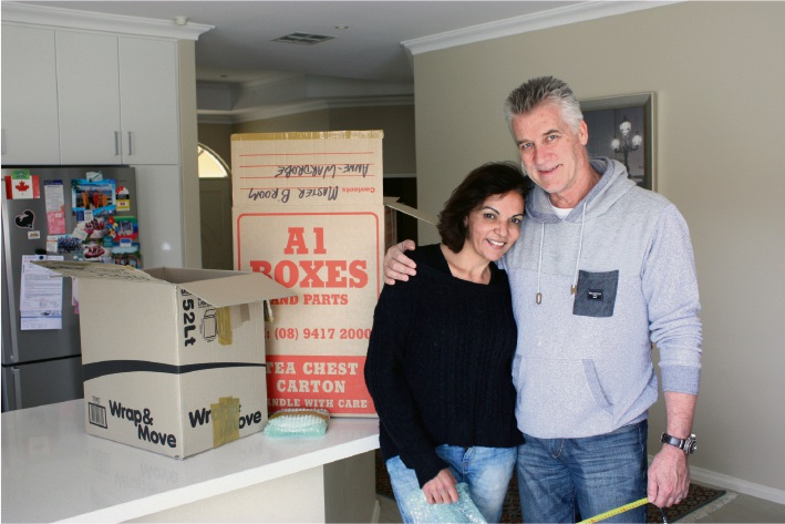 Cowan MHR Anne Aly with her husband Dave Allen in their new Madeley home.