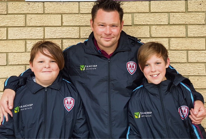 Thomas, Shaun and Sam Parkin wearing the Yanchep United Football Club jackets.