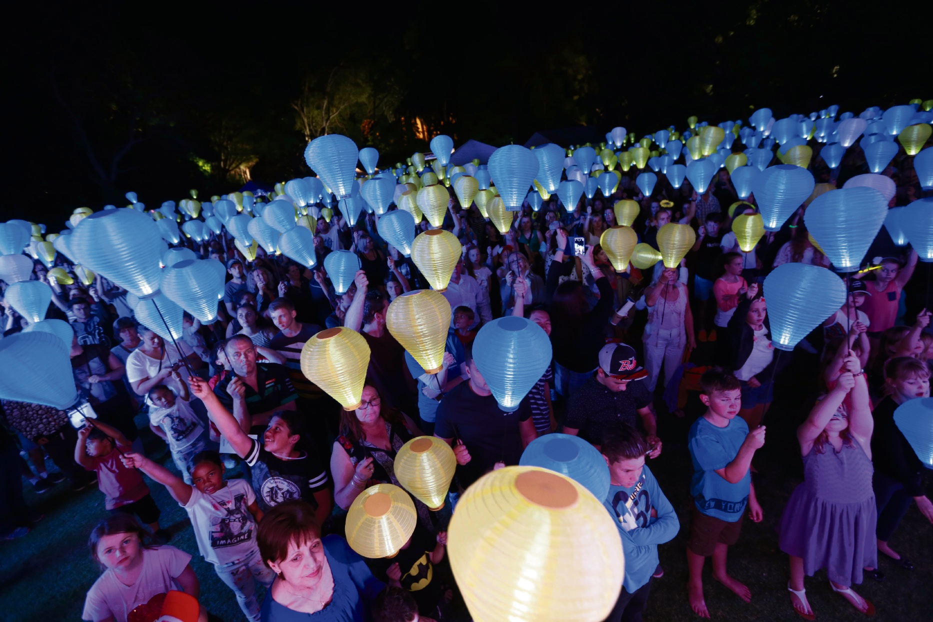 Lanterns show support at last year's Light the Night event in Perth.