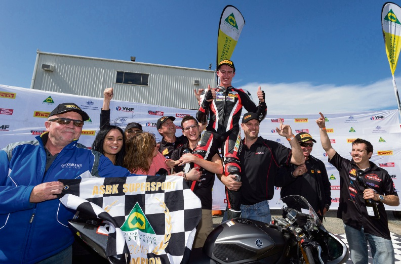 Troy Guenther celebrates winning the national supersport championship. Picture: Andrew Gosling/tbgsport