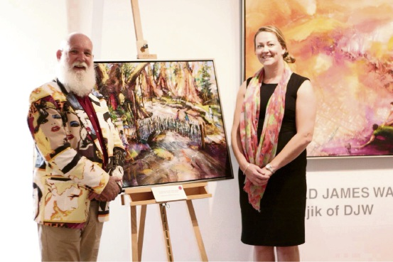 Donald James Waters with Parkerville Children and Youth Care's Vicky Absalom-Hornby.