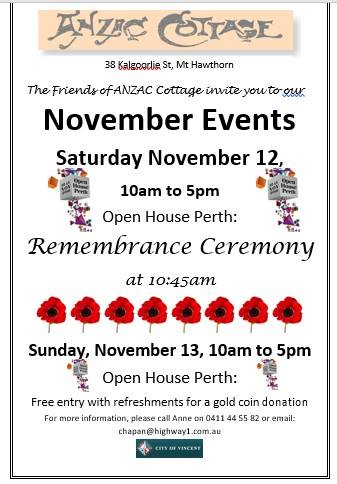 ANZAC Cottage: Remembrance Ceremony