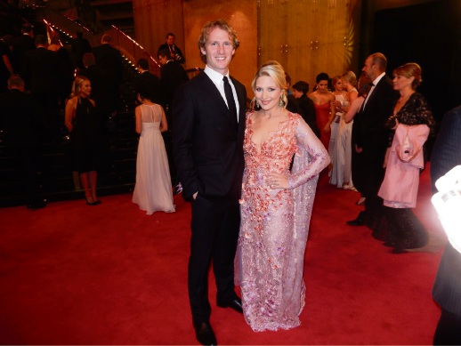 David Mundy with wife Sally as dressed by  Jenna Rose (right) on the Brownlow Medal red carpet.