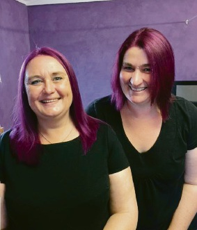 Linda and Donna with their purple hair.