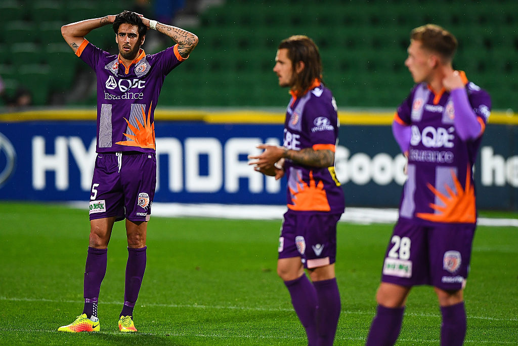 Perth Glory players lament letting a three-goal lead slip at the end of their clash with Central Coast on the weekend. Picture: Daniel Carson/Getty Images