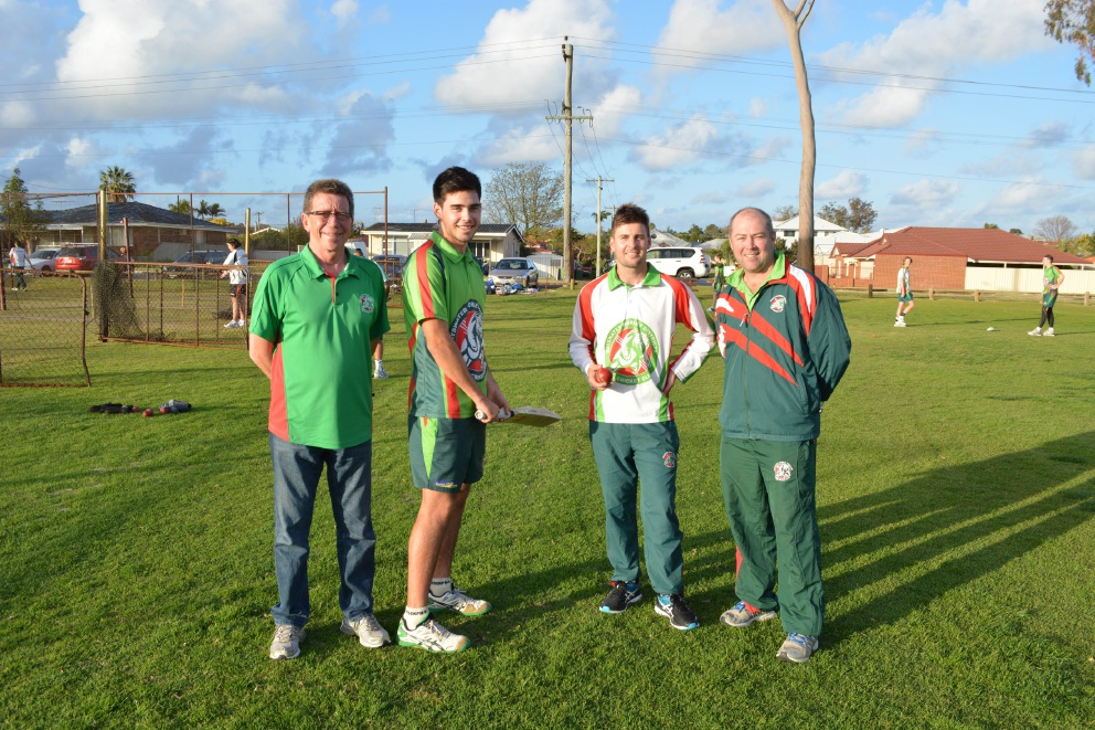 Geoff Parkinson (club president), Rhys Hampson, Liam O'Connor and Justin Cantrill (coach).