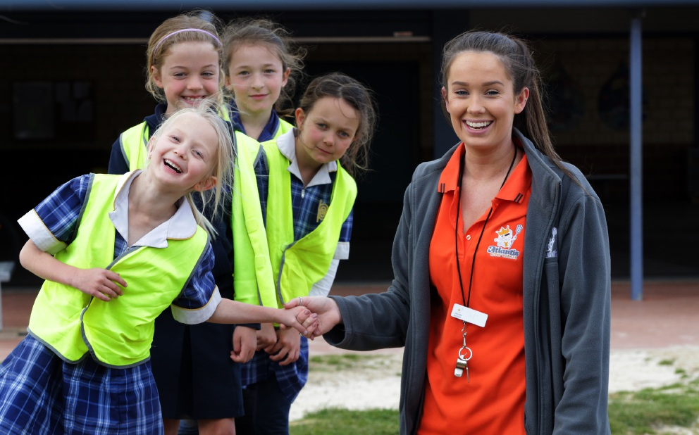 Educator assistant Nikki Tanner with Chloe Joubert (5), Lottie Blankley (7), Ellie-Jo Jordan (8) and Lia Joubert (7). Picture: Martin Kennealey  d459463