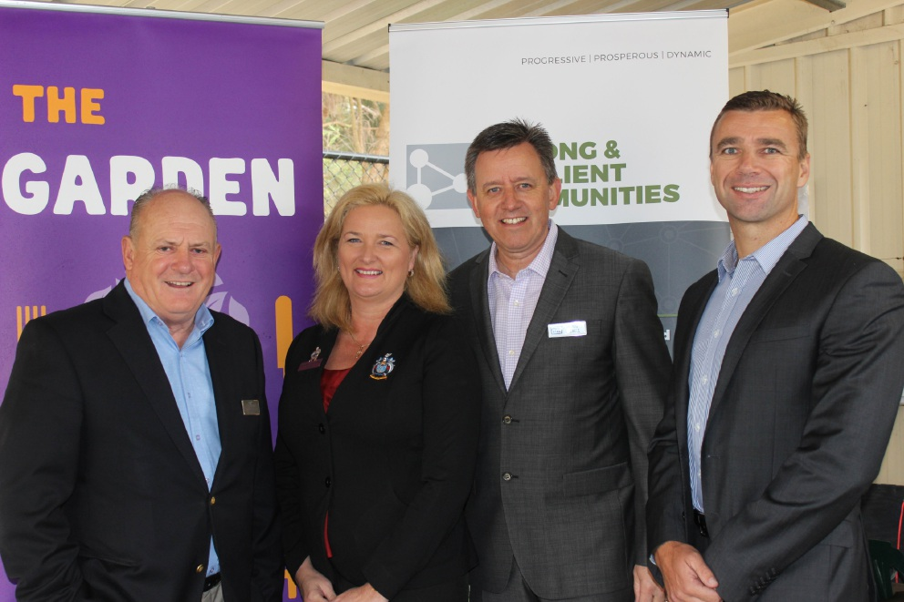 Peel Development Commission chairman Paul Fitzpatrick, City of Mandurah Mayor Marina Vergone, Foodbank chief executive Greg Hebble and PDC chief executive Andrew Wald after announcing the grant from Royalties for Regions Community Chest.