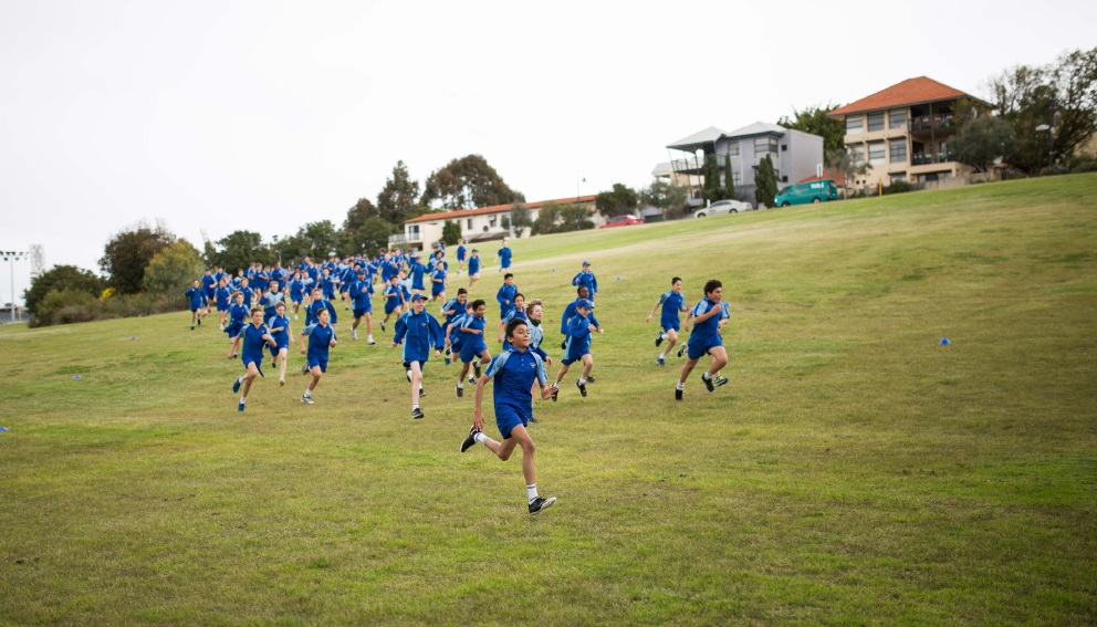 Students at Trinity College take part in the annual Fun Run for India.