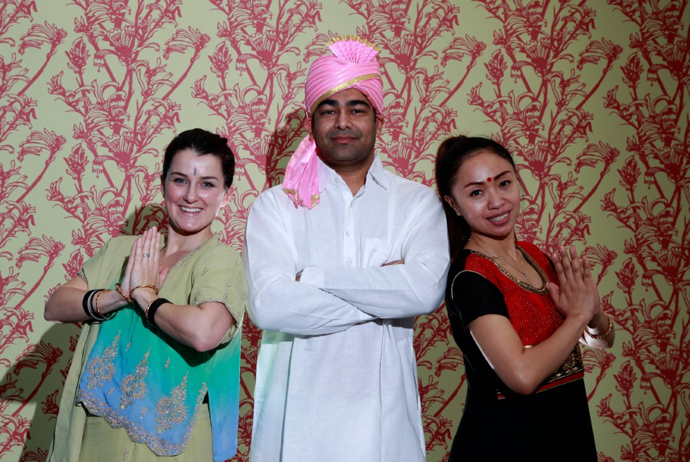 SwanCare Kingia staff Candice Hitchcock, Amit Cumar and Suzy Suswati get ready for Indian Independence Day on August 15. Picture: Marie Nirme