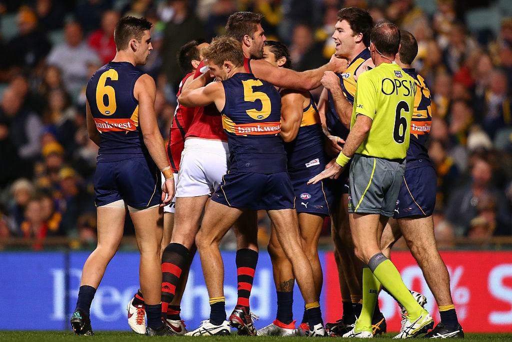 Tempers flared on occasion in the West Coast and Essendon clash. Picture: Getty Images