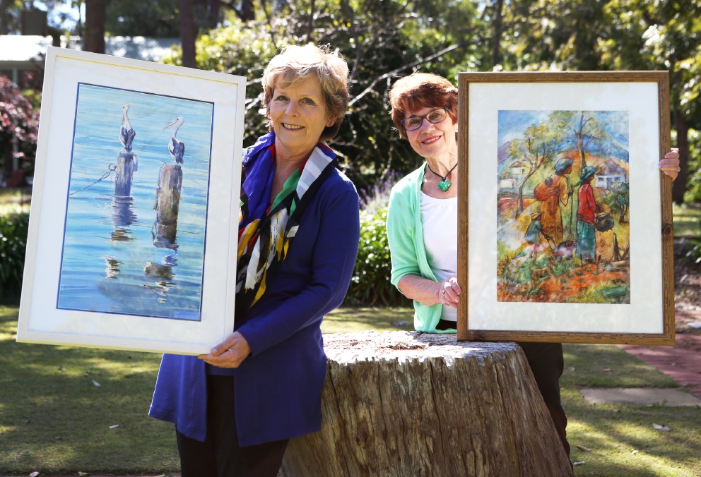 Wanneroo artists Marion Power and Lorraine Gardner will have works on display at the Watercolour Society of WA exhibition this weekend. Picture: Matt Jelonek d460539