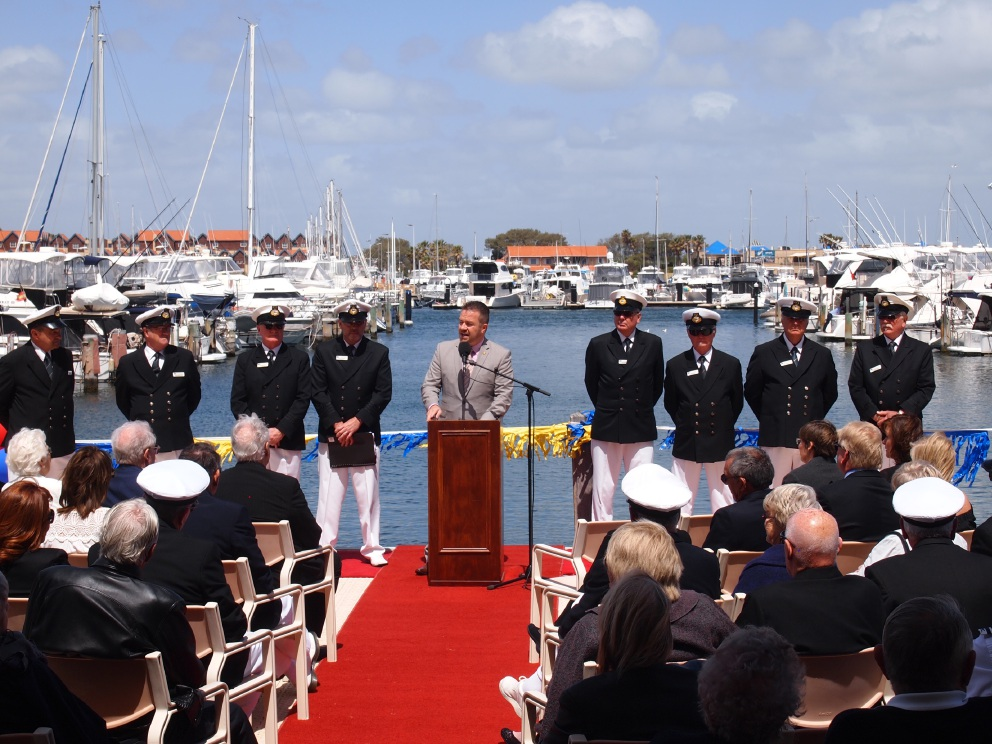 Joondalup Mayor Troy Pickard with flag officers opens the season at Hillarys Yacht Club.