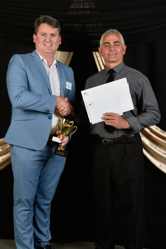 Secret Harbour Dockers Cricket Club vice-president Terry Arnold with sponsor Ted Blackshaw of Baldivis Health and Fitness. Right: Holly Barratt was the senior sportsperson of the year. Pictures: Kingsley Klau