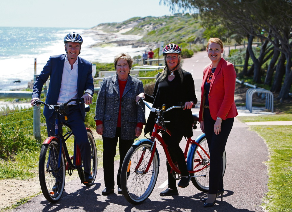 Environment Minister Albert Jacob, City of Joondalup councillor Kerry Hollywood, City of Wanneroo Mayor Tracey Roberts and Minister Donna Faragher .Picture: Matt Jelonek        d460529