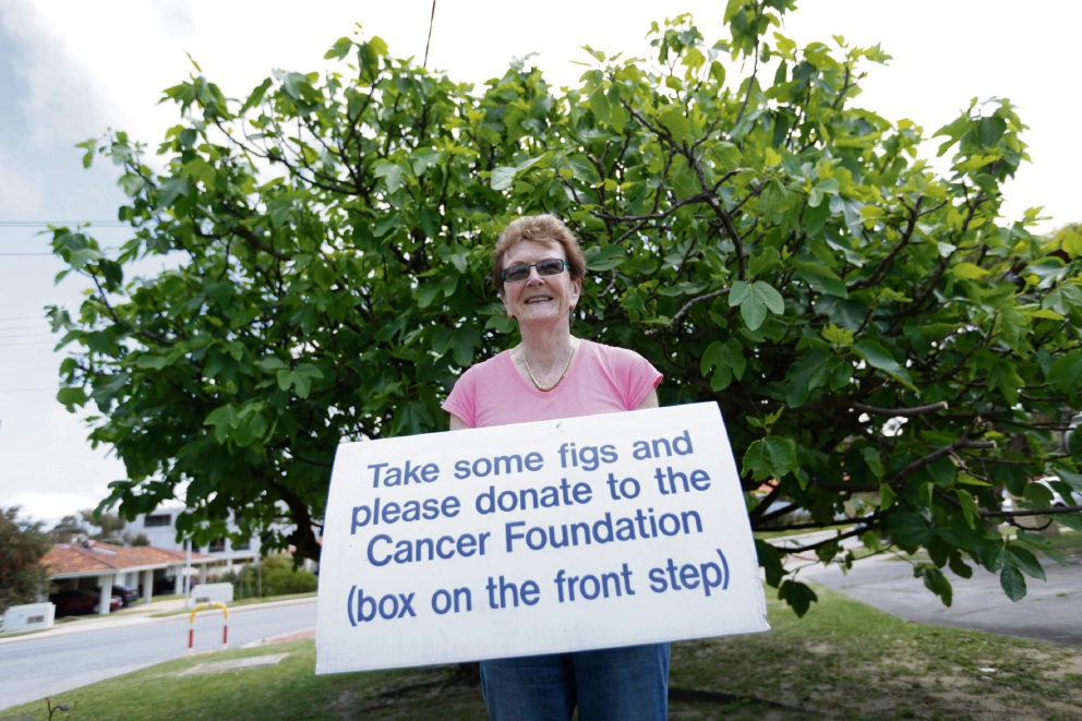 Frances Strover protests in front of her fig tree. Picture: Andrew Ritchie www.communitypix.com.au   d460646