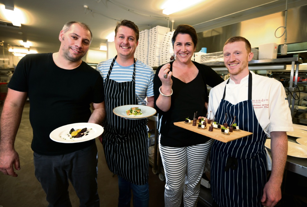 Chefs Hadleigh Troy, Kiren Mainwaring and Michael Hartnell with Humane Food Ambassador and MC Caroline Taylor.  Picture: David Baylis  d460613