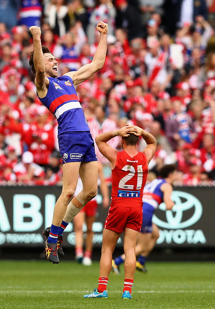 Joel Hamling celebrates victory on the siren during the grand final. Picture: Ryan Pierse/AFL Media/Getty Images