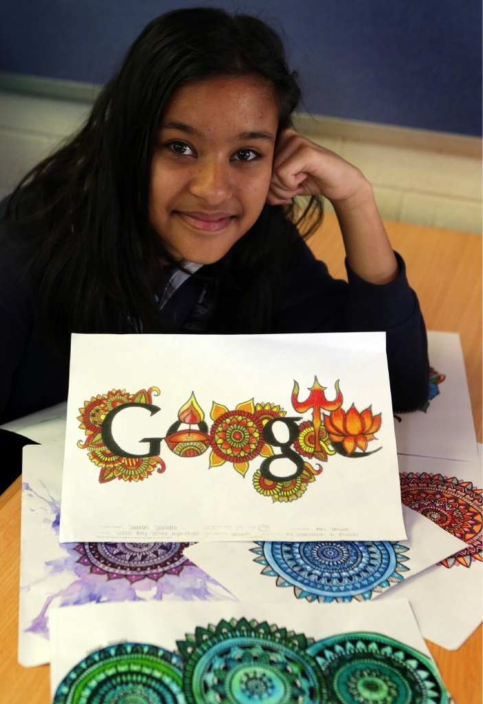 Ocean Reef Senior High School student Simran Savadia with her designs for Google. Picture: Martin Kennealey d444169