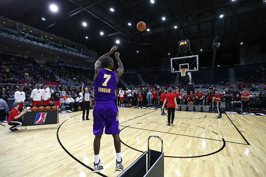 Andre Ingram  shoots the ball during the three-point contest during the NBA D-League All-Star Game 2016. Picture: Dave Sandford/NBAE via Getty Images