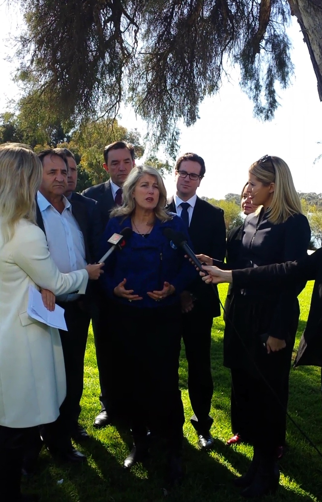 City of Kwinana Mayor Carol Adams outlining her opposition to the Perth Freight Link today.