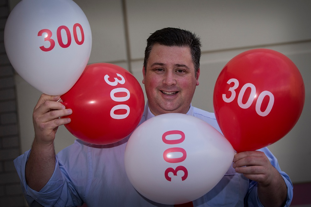 Blood donation star Terry Healy joins the 300 club