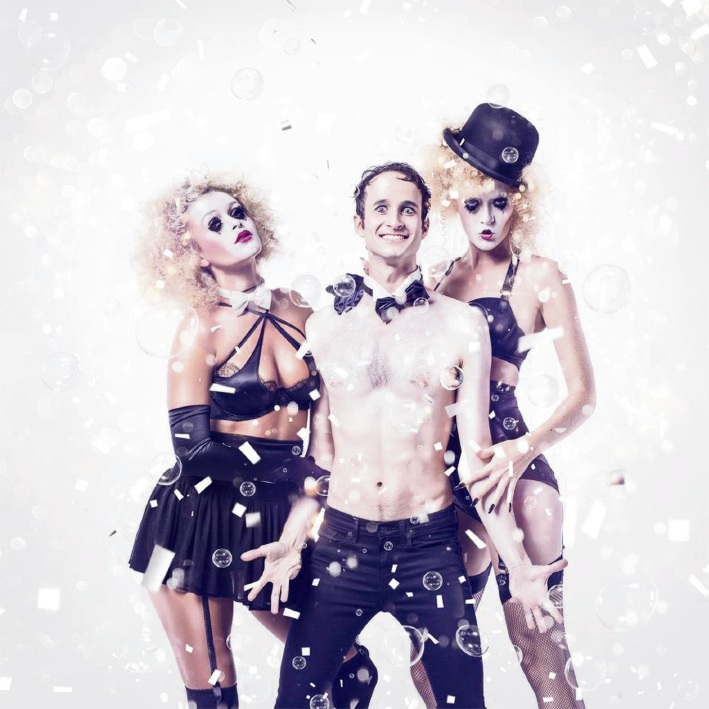 Contortionist and clown Spencer Novich (centre) will bring some pop to Blanc de Blanc.