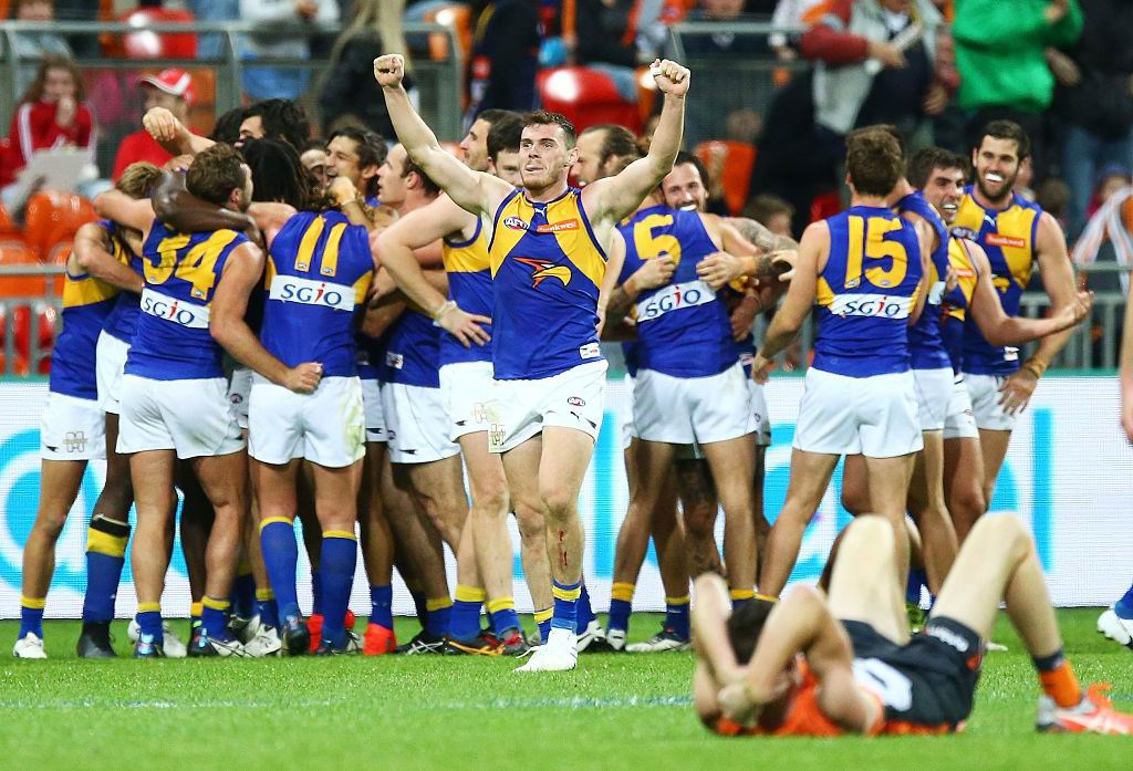 Luke Shuey celebrates the win over GWS after one of the best games of his career. Picture: Getty Images
