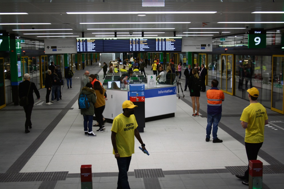 Public Transport Authority staff helped commuters at the new busport in Perth. Picture: Giovanni Torre