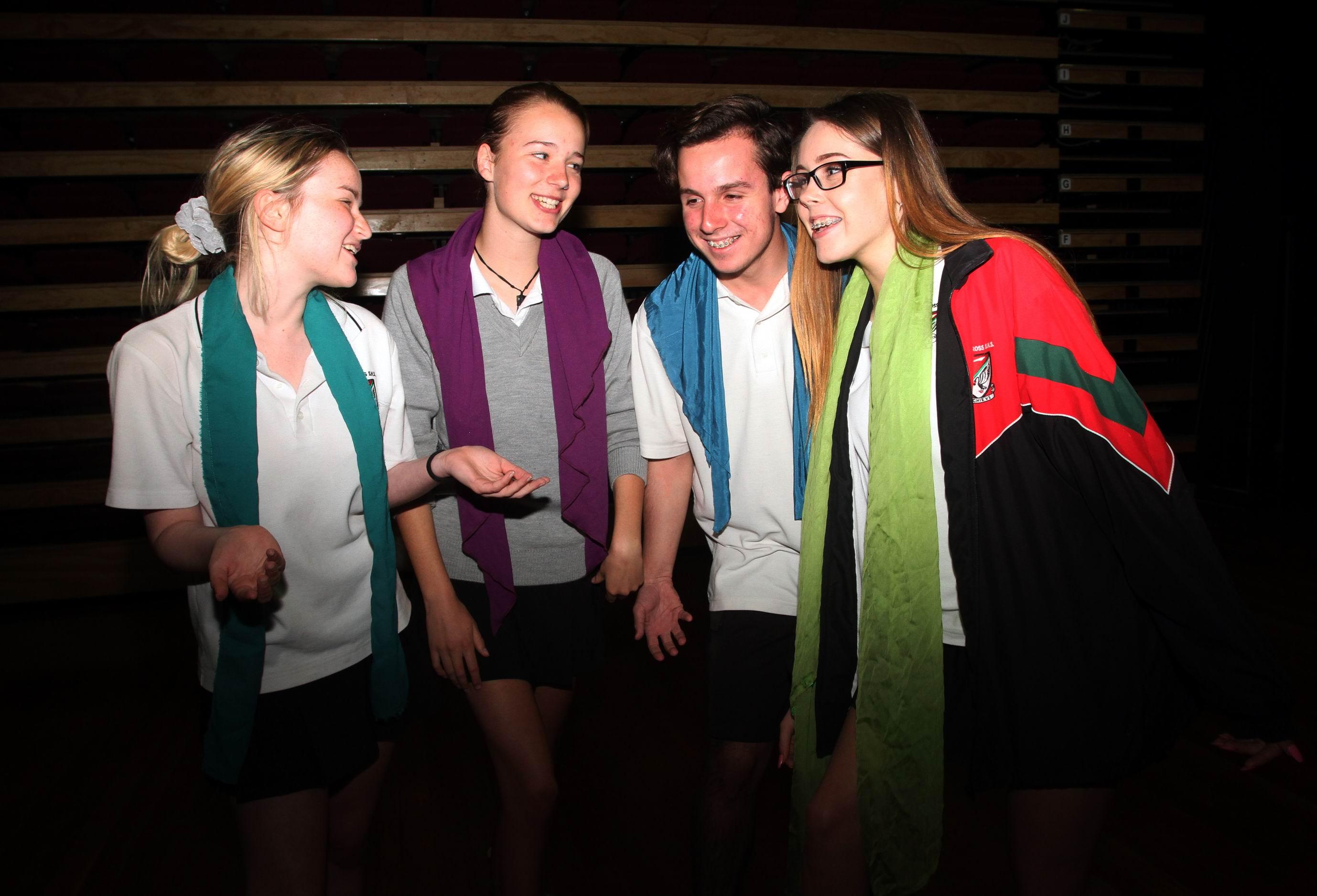 Samantha Burt, Ella O'Leany, Daniel de Lima and Lizzy Stenning from year 10 drama.