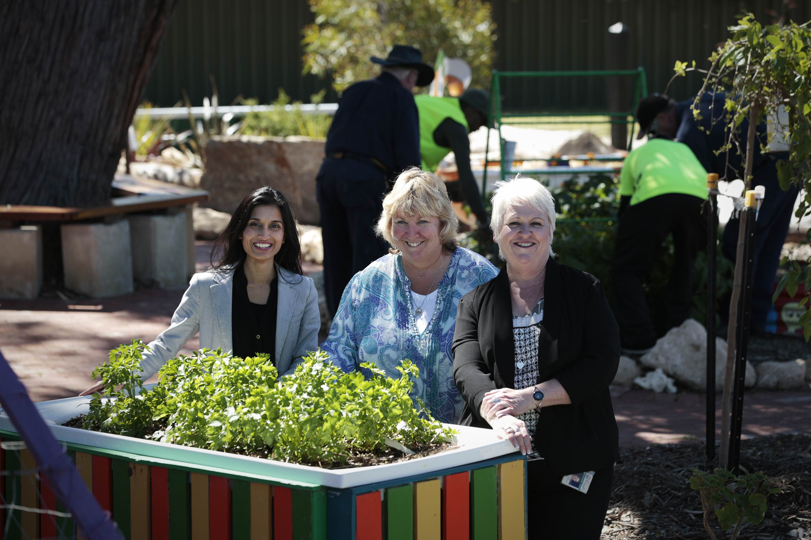 Monica Sharma (Manager Mirrabooka Adult Community Corrections), Donelle Wilson (Community Garden Coordinator) and Margaret Blackwell (Acting Community Corrections Offcier). Department of Corrective Services have a community service program at Hamersley Habitat Community Garden where detainees work at the garden.
