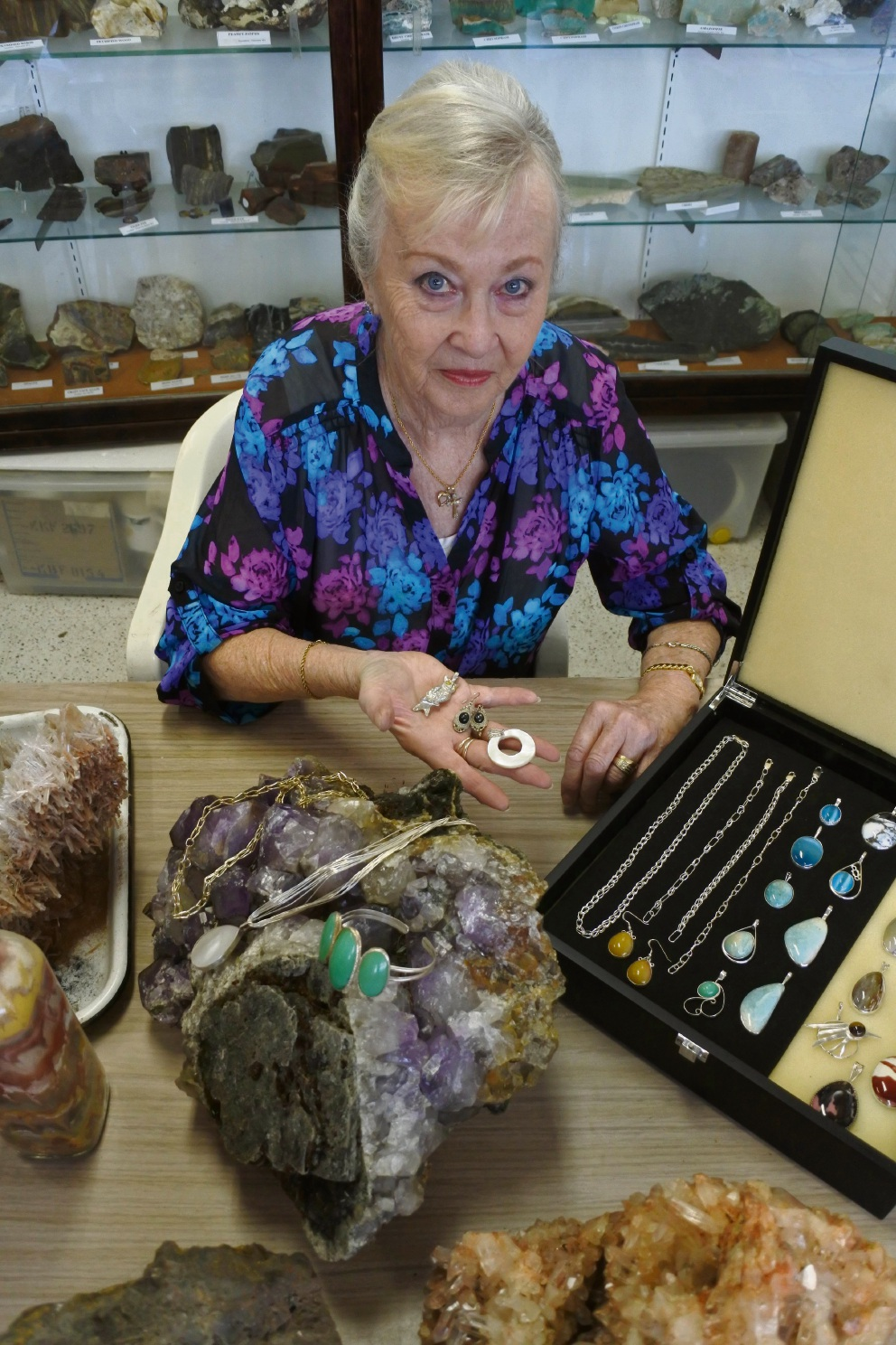 Loris Argentino with some of the gems that will be on display at the open day.