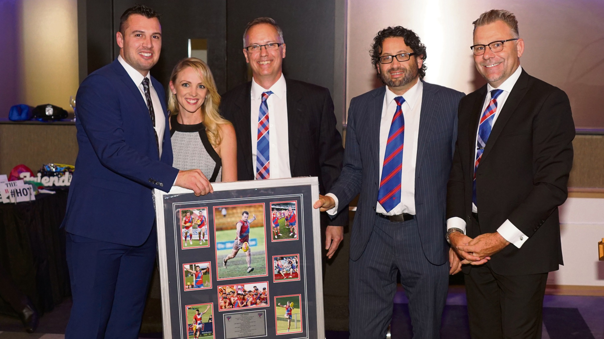 Luke Tedesco (left) receives retirement honours with board members Rebecca Pearce, Rob Jackson, Richard Homsany and Chris Erikson. Picture: Matt Beilken
