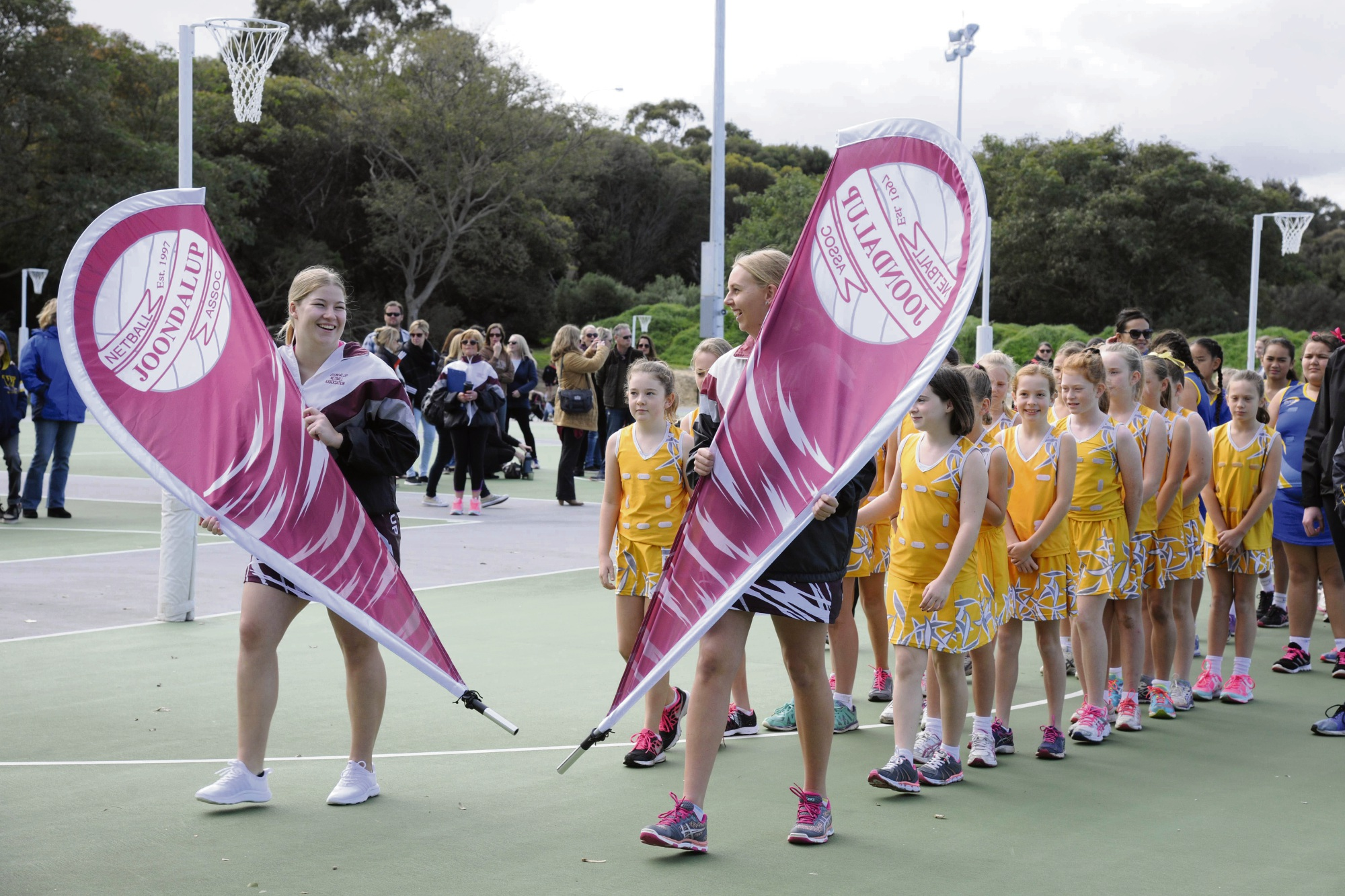 Youngsters take to the netball court.