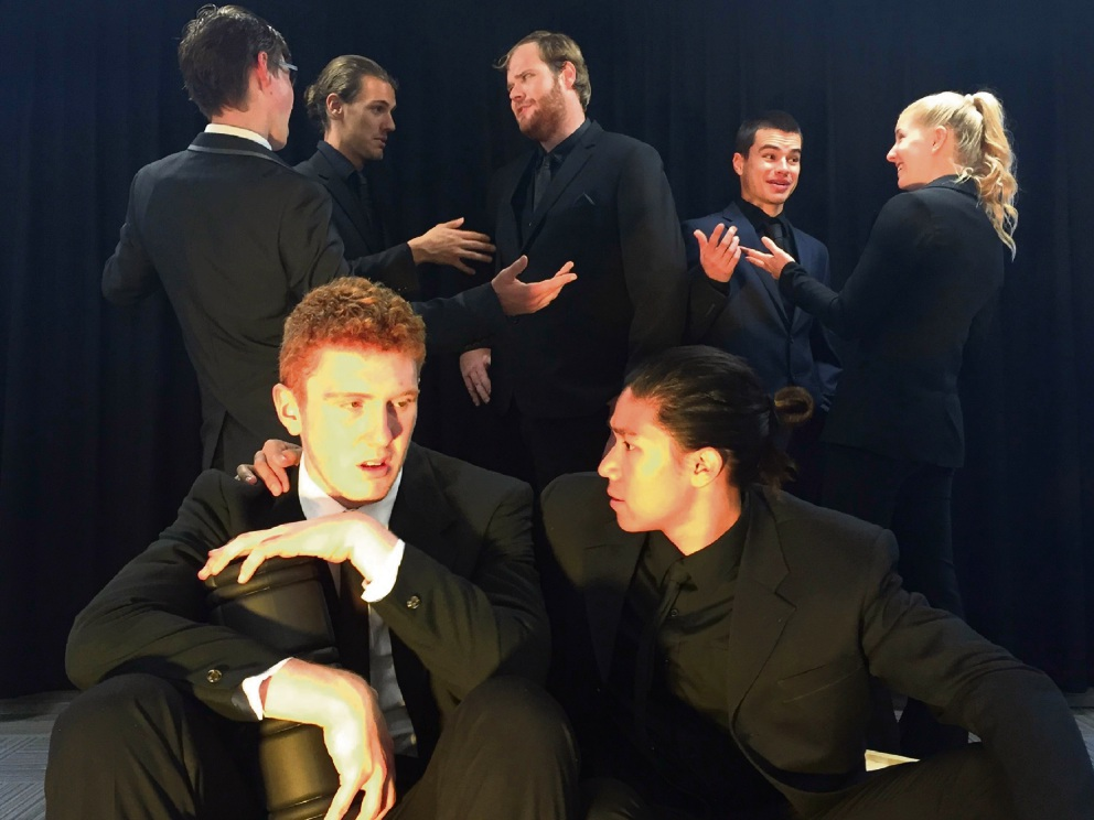 Glenn Wallis and Carlin Monteiro (front) with Bryce Fenwick, Daniel Elsegood, Matthew Parkin, Chris Colley and Makayla Deacon are appearing in How to Disappear Completely And Never Be Found.