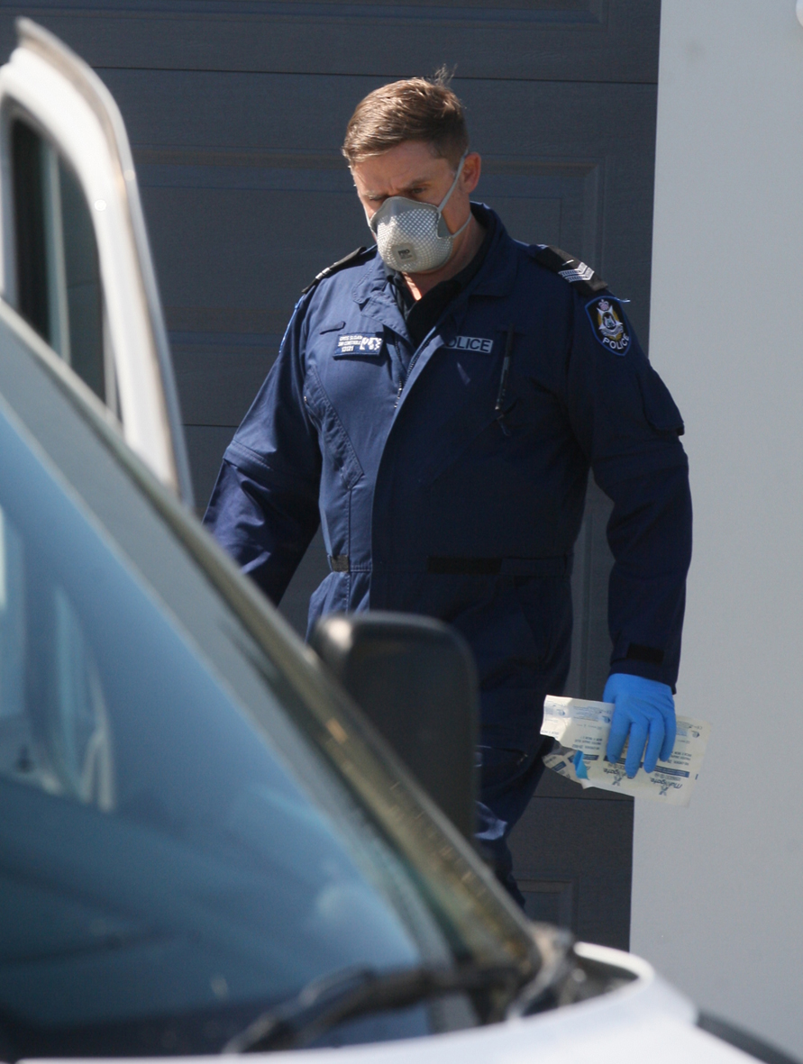 Police at a Flight Vista house investigating the deaths of two children. Picture: Bruce Hunt