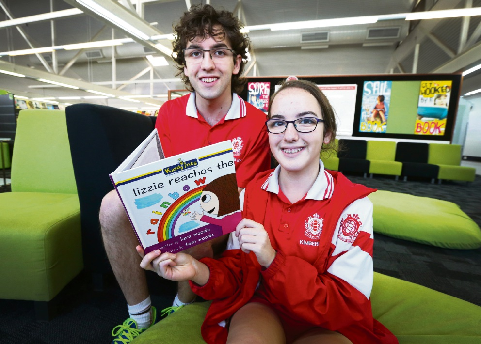 Brother-and-sister collaboration: Lara and Tom Woods have published their first book, Lizzie Reaches The Rainbow. Picture: Matt Jelonek        www.communitypix.com.au   d460110