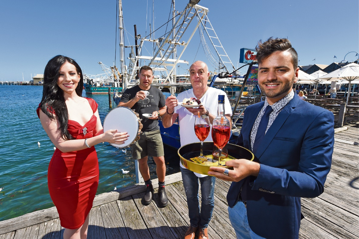 Singer Monique Fitzgerald, Ruba Coffee's Allan McMurray, Peter Vinci of Fremantle's Family Cook Book and food blogger Daniele Foti-Cuzzola get ready for the Fremantle Festival. Picture: Jon Hewson        www.communitypix.com.au   d460323