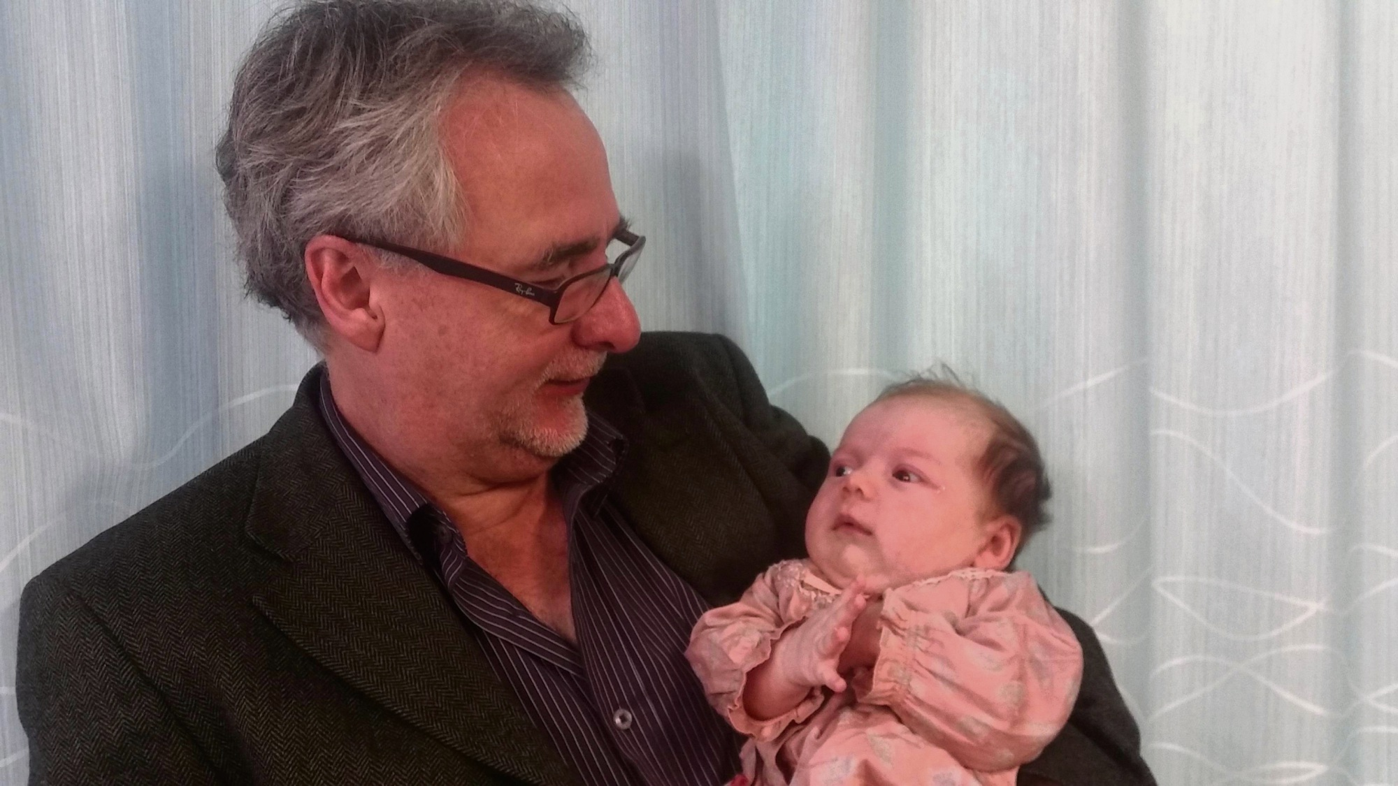 Dr Peter Kell and seven-week-old Annabelle.