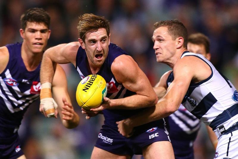 Michael Barlow during the round 17 AFL match between Fremantle and Geelong, his last game for the club. Picture: Paul Kane/Getty Images